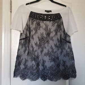 WHBM Lace Short Sleeve Top